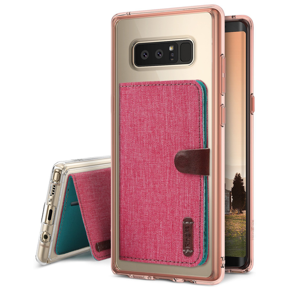 Samsung Galaxy Note 8 Case, Ringke [Advanced Accessory Kit] Fusion Clear Case with Attachable Flip Card Holder - Rose Gold & Deep Pink