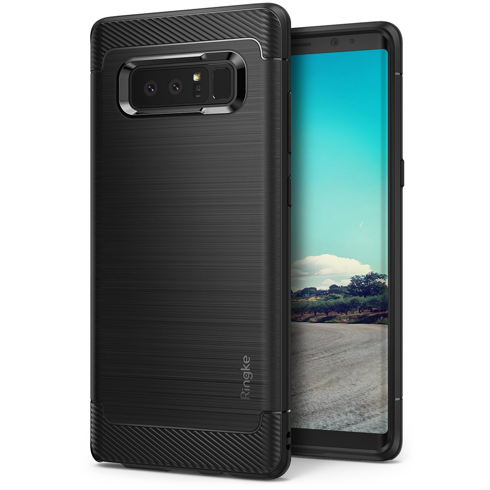 Samsung Galaxy Note 8 Case, Ringke [ONYX] Resilient Strength TPU Brushed Metal Texture Anti-Slip Defensive Cover - Black