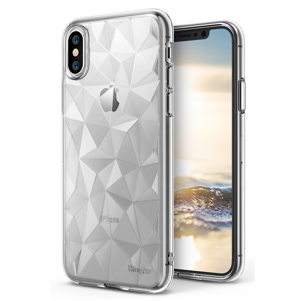 Apple iPhone X Case, Ringke [AIR PRISM] 3D Geometric Design TPU Pyramid Pattern Textured Protective Cover - Clear