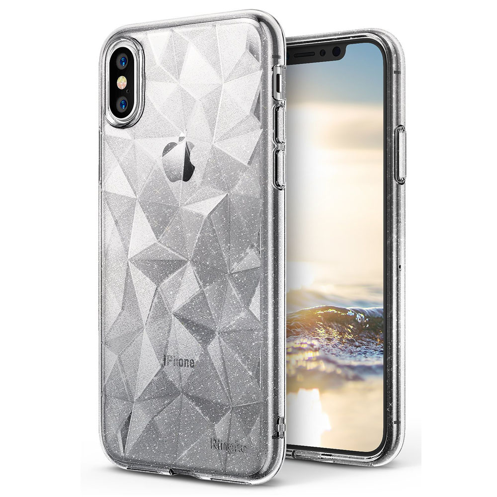 Apple iPhone X Case, Ringke [AIR PRISM GLITTER] TPU Flexible Sparkle Slim 3D Design Cover - Glitter Clear