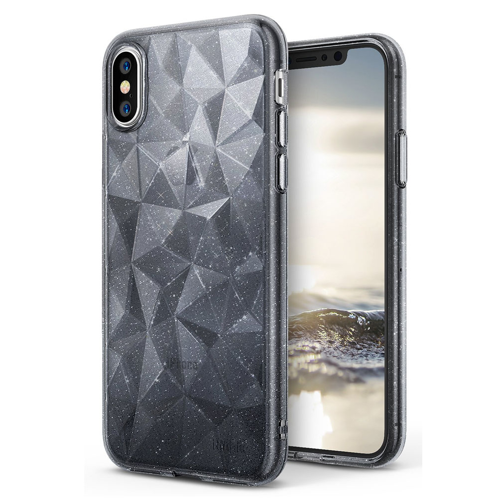 Apple iPhone X Case, Ringke [AIR PRISM GLITTER] TPU Flexible Sparkle Slim 3D Design Cover - Glitter Gray