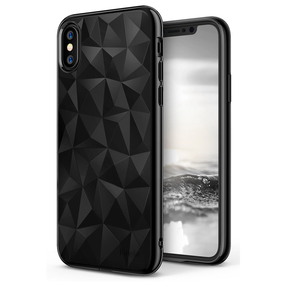 Apple iPhone X Case, Ringke [AIR PRISM] 3D Geometric Design TPU Pyramid Pattern Textured Protective Cover - Ink Black