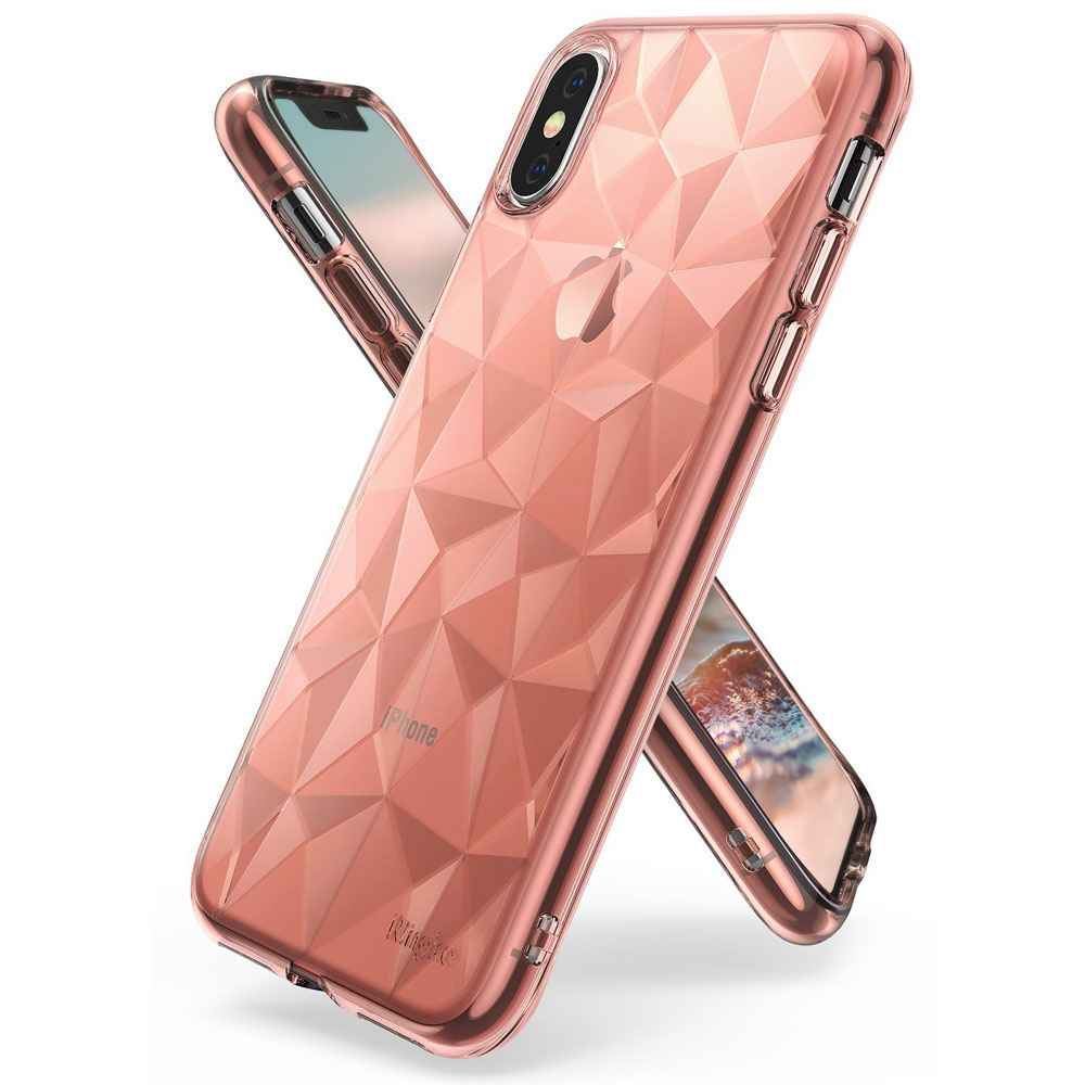 Apple iPhone X Case, Ringke [AIR PRISM] 3D Geometric Design TPU Pyramid Pattern Textured Protective Cover - Rose Gold