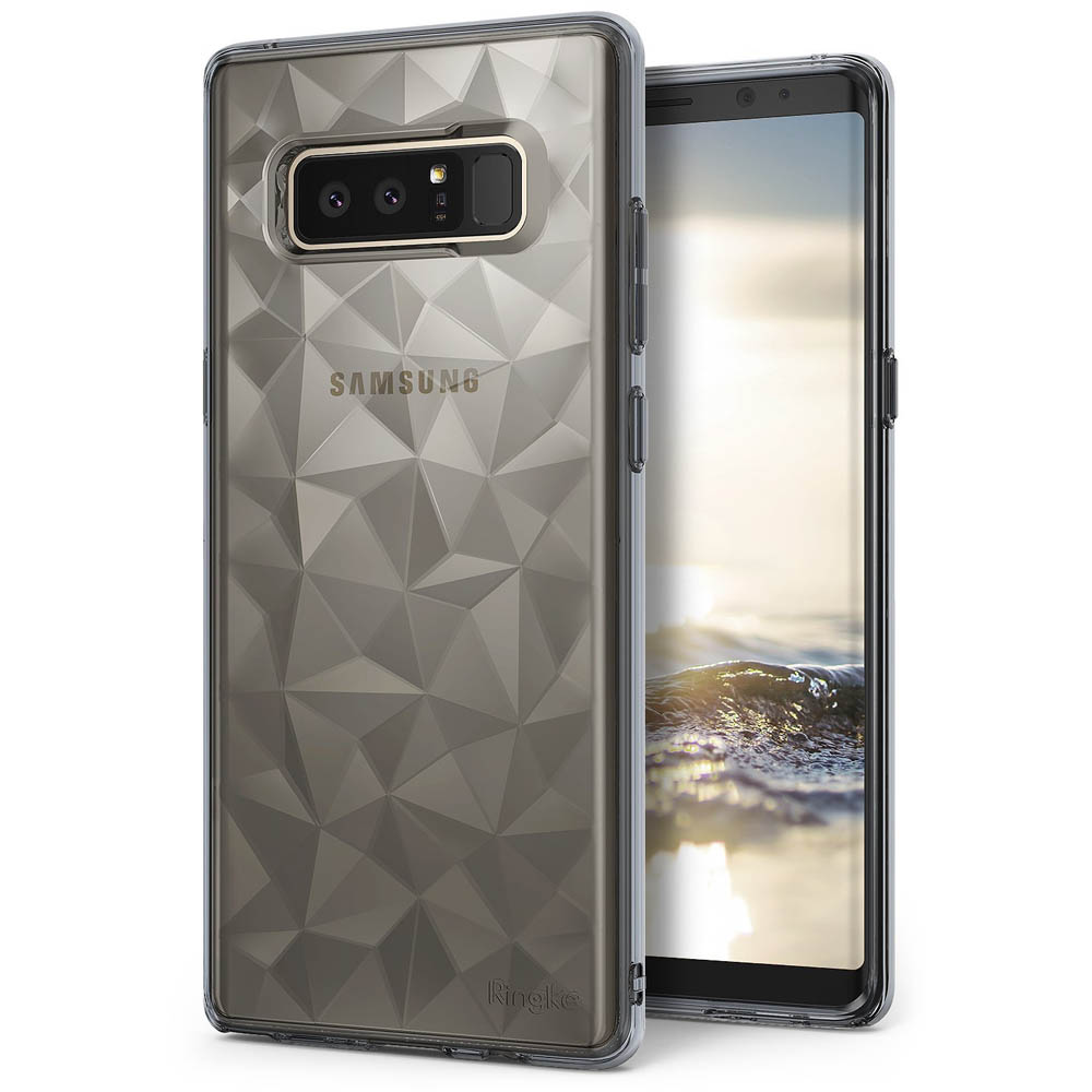 Samsung Galaxy Note 8 Case, Ringke [AIR PRISM] 3D Geometric Design TPU Pyramid Pattern Textured Protective Cover  - Smoke Black