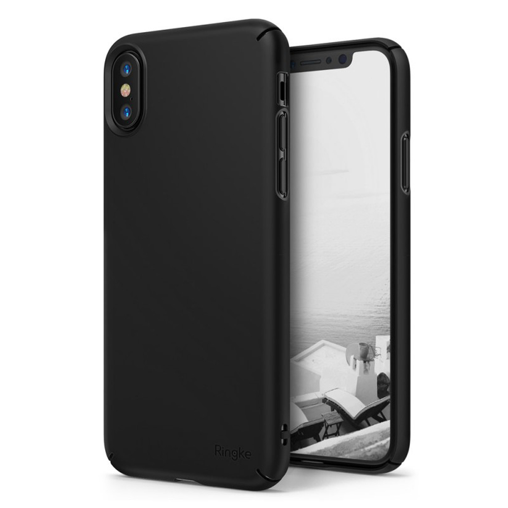 Apple iPhone X Case, Ringke [SLIM] Wallet Slot Attachment Lightweight & Classy Fashionable Hard Case Cover - Black
