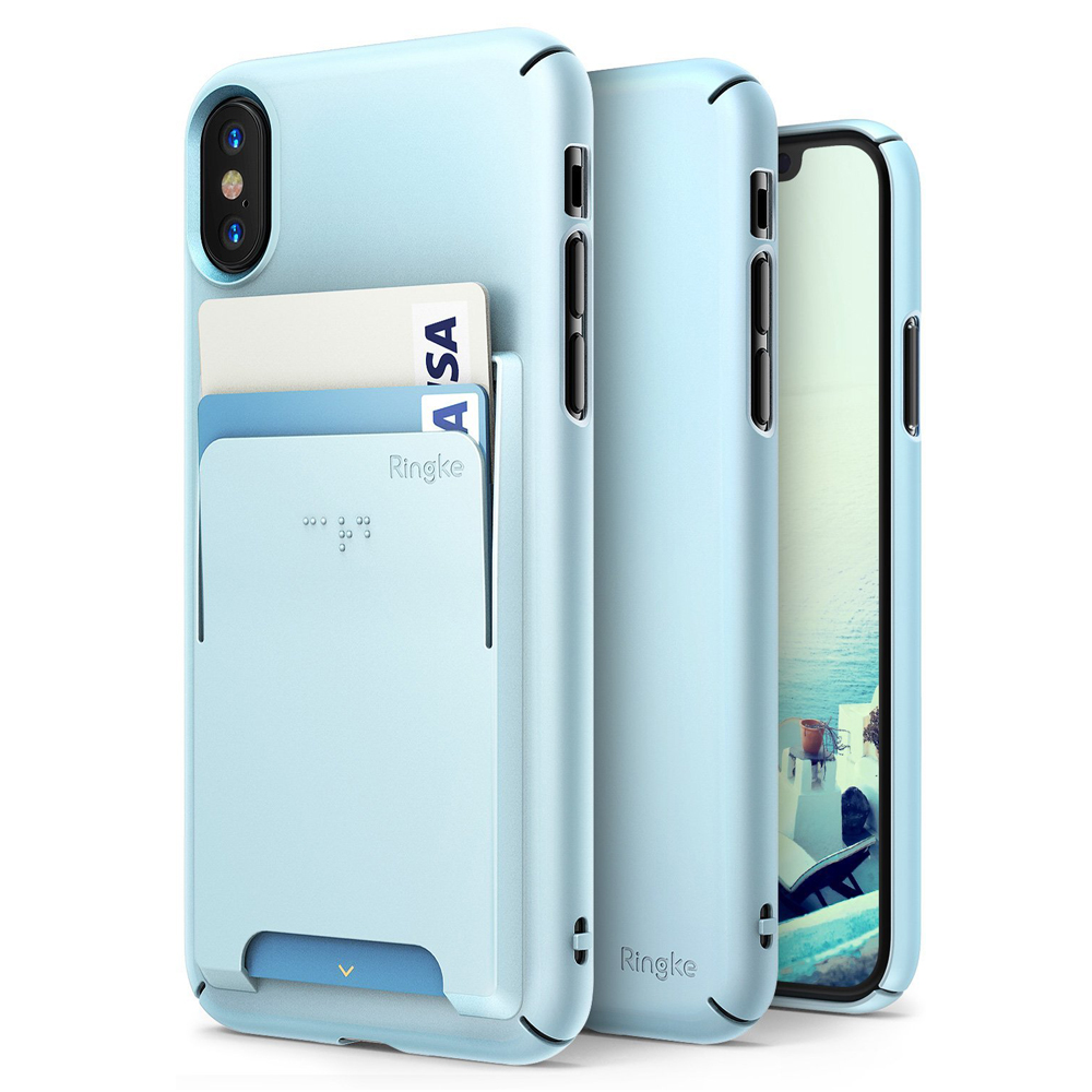 Apple iPhone X Case, Ringke [SLIM] Wallet Slot Attachment Lightweight & Classy Fashionable Hard Case Cover - Sky Blue