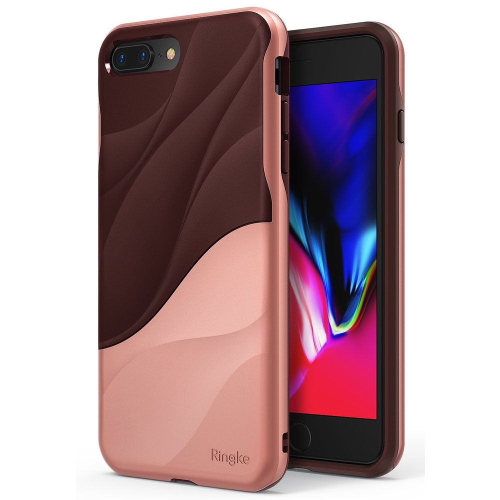 Apple iPhone 8 Plus/ 7 Plus Case, Ringke [WAVE] Dual Layer Heavy Duty Shockproof PC TPU Protective Cover - Rose Blush