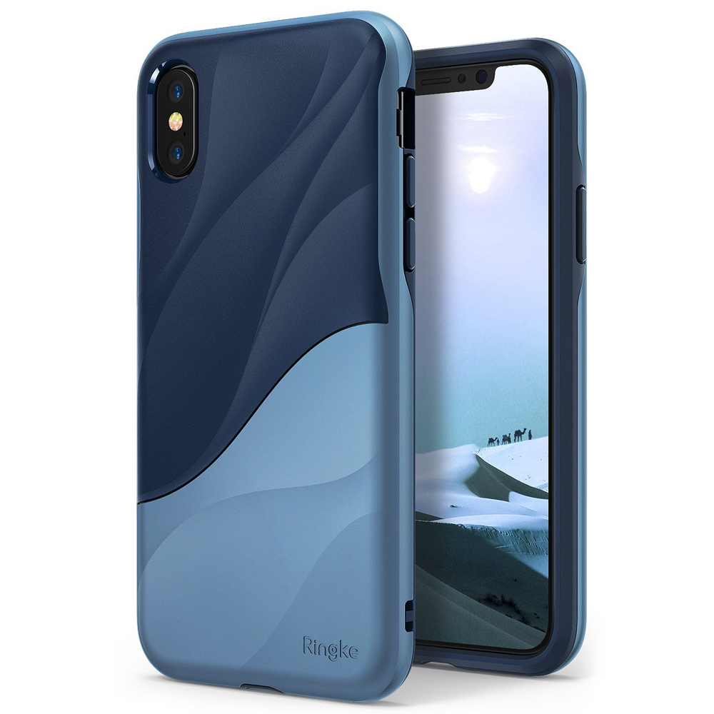 Apple iPhone X Case, Ringke [WAVE] Dual Layer Heavy Duty Shockproof PC TPU Protective Cover - Coastal Blue