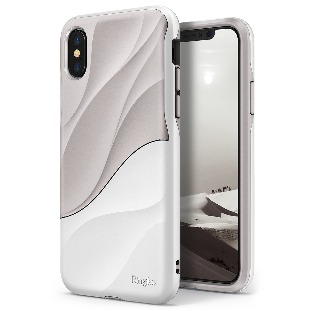 Apple iPhone X Case, Ringke [WAVE] Dual Layer Heavy Duty Shockproof PC TPU Protective Cover - Gray White