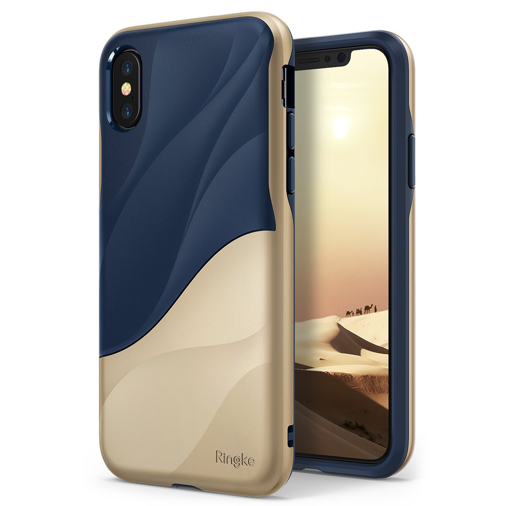 Apple iPhone X Case, Ringke [WAVE] Dual Layer Heavy Duty Shockproof PC TPU Protective Cover - Marina Gold