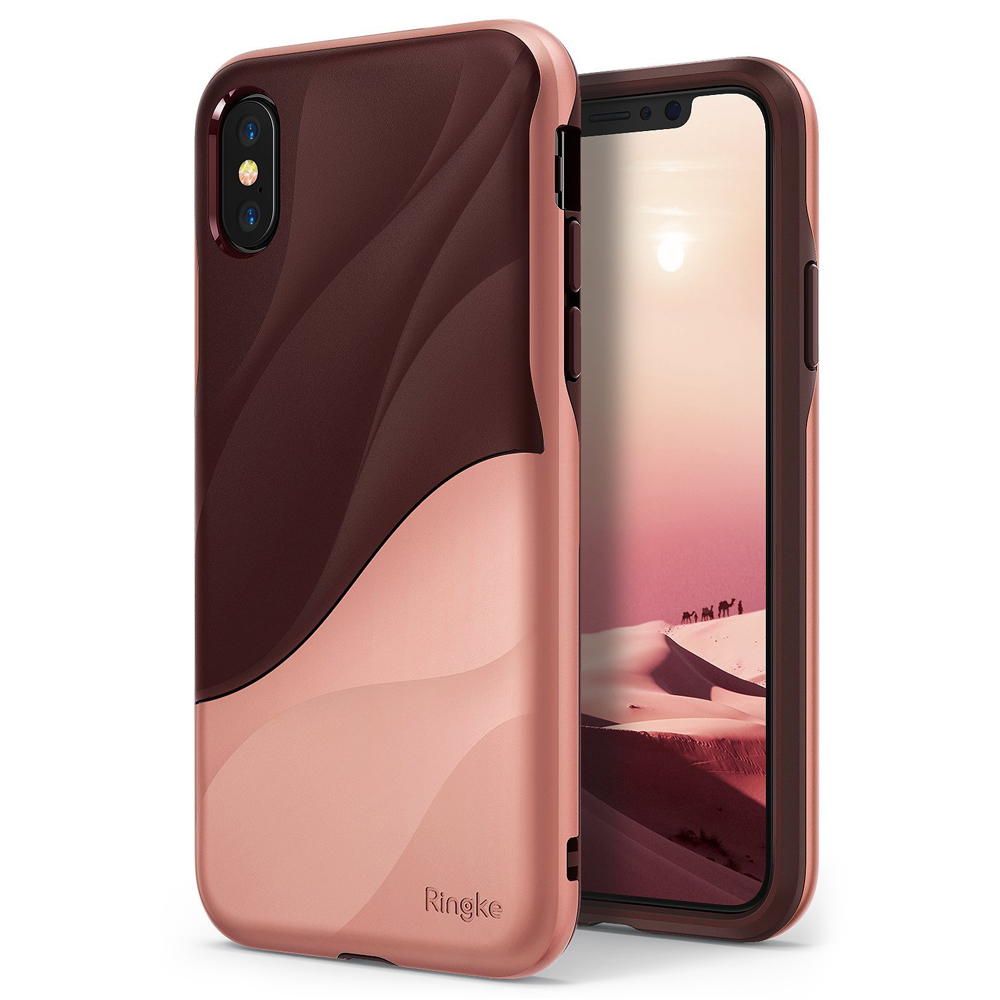 Apple iPhone X Case, Ringke [WAVE] Dual Layer Heavy Duty Shockproof PC TPU Protective Cover - Rose Blush