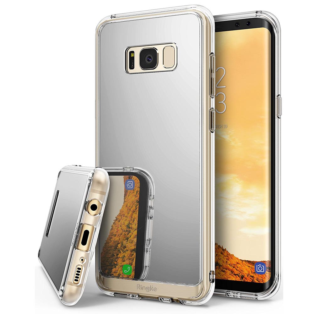 Samsung Galaxy S8 2017 Slim Case, Ringke [Fusion Mirror] Bright Reflection Radiant Luxury Mirror Bumper [Shock Absorption Technology] Slim Stylish Protective Cover - Silver