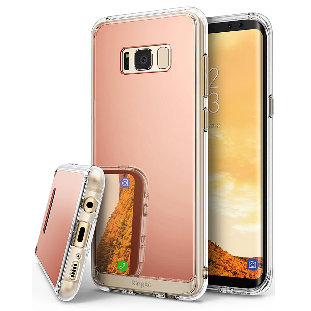 Galaxy S8 Case, Ringke [FUSION MIRROR] Bright Reflection Radiant Luxury Mirror Protection Cover - Rose Gold