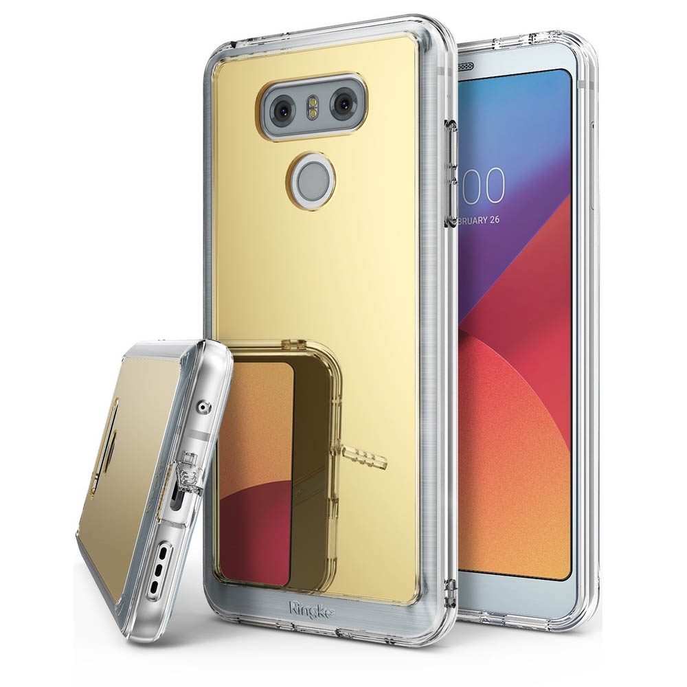 LG G6 Case, Ringke [FUSION MIRROR] Bright Reflection Radiant Luxury Mirror Case [Drop Protection / Shock Absorption Technology][Attached Dust Cap] for LG G6 - Royal Gold