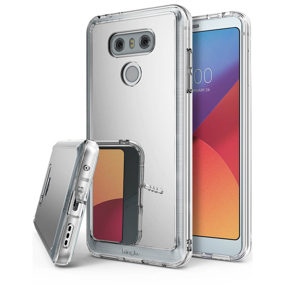 LG G6 Case, Ringke [FUSION MIRROR] Bright Reflection Radiant Luxury Mirror Case [Drop Protection / Shock Absorption Technology][Attached Dust Cap] for LG G6 - Silver