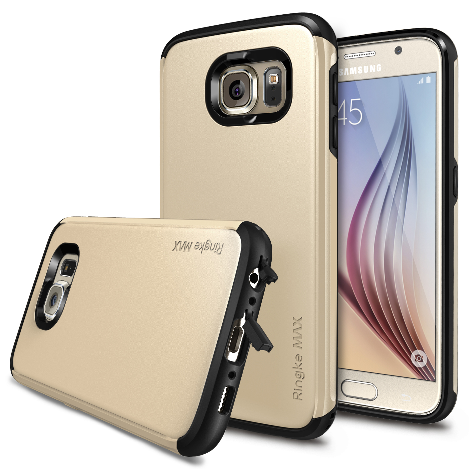 Samsung Galaxy S6 Case, Ringke [Royal Gold] MAXX Series Premium Dual Layer Protective Armor Case w/ Free Screen Protector