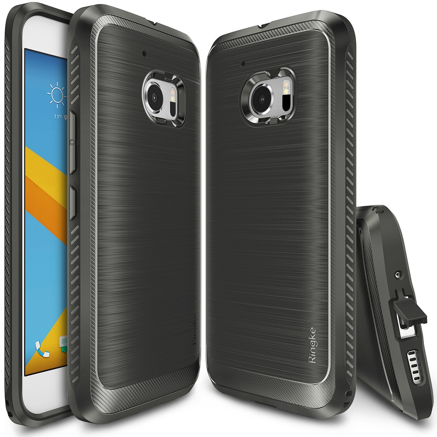 HTC 10 Case, Ringke ONYX [Gray] Durable Anti-Slip Drop Protection, TPU Defensive Case for HTC HTC 10