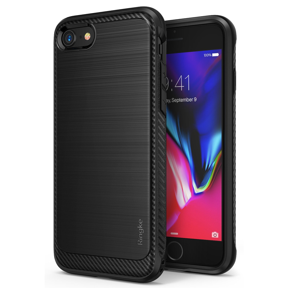 [Ringke] Apple iPhone 8 Plus / 7 Plus Case, [ONYX] Resilient Strength TPU Brushed Metal Texture Anti-Slip Defensive Cover [Black]