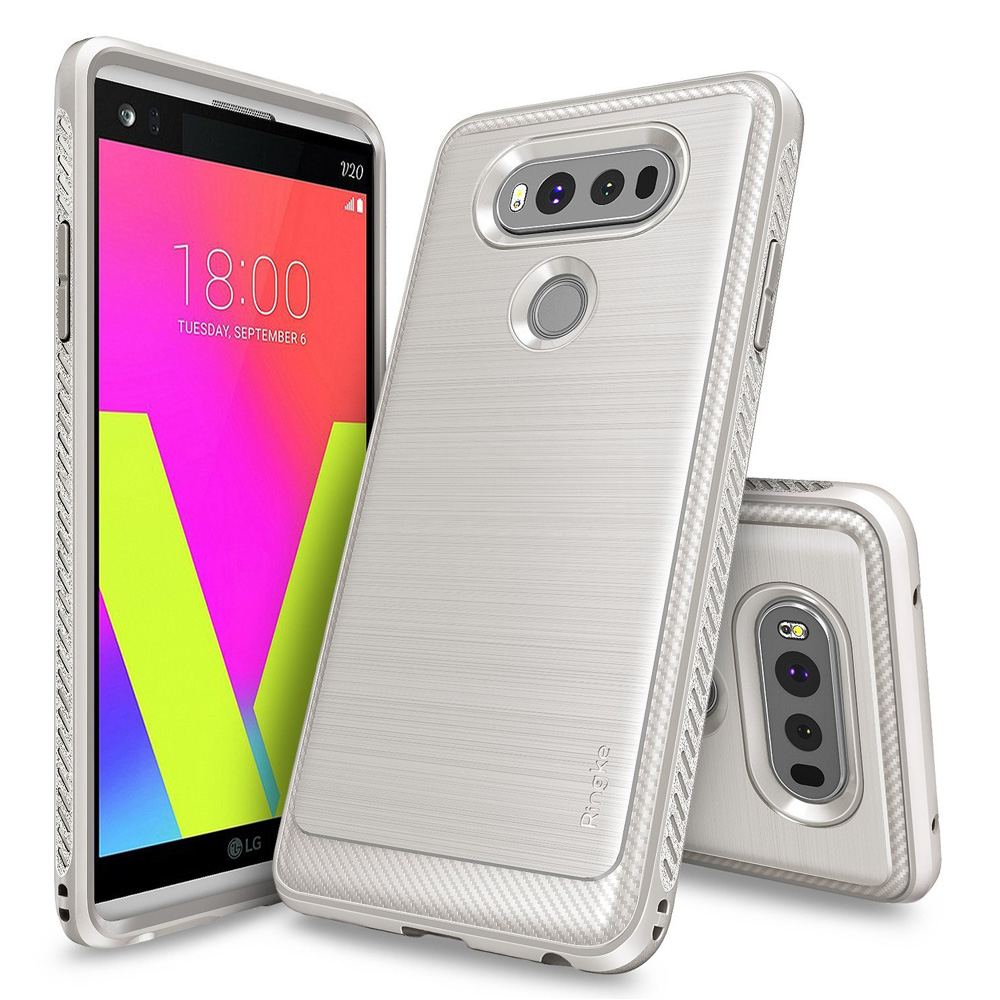 LG V20 Case, Ringke [ONYX] Resilient Strength TPU Brushed Metal Texture Anti-Slip Defensive Cover - Stone White