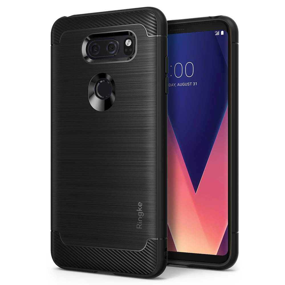 LG V30 Case, Ringke [ONYX] Resilient Strength TPU Brushed Metal Texture Anti-Slip Defensive Cover - Black