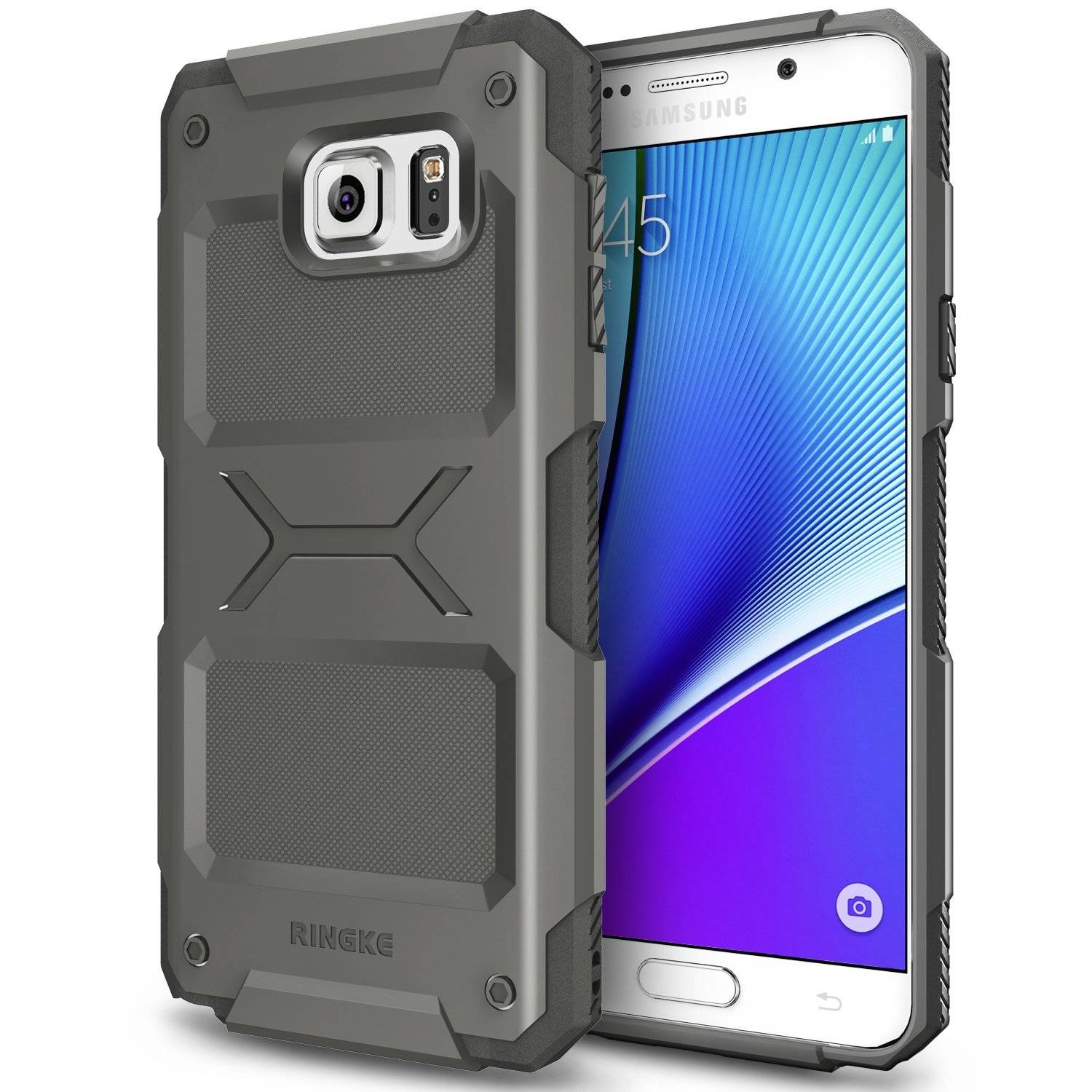 Samsung Galaxy Note 5, Ringke [Gray] REBEL Series Improved Strength Flexible TPU Defensive Hybrid Case