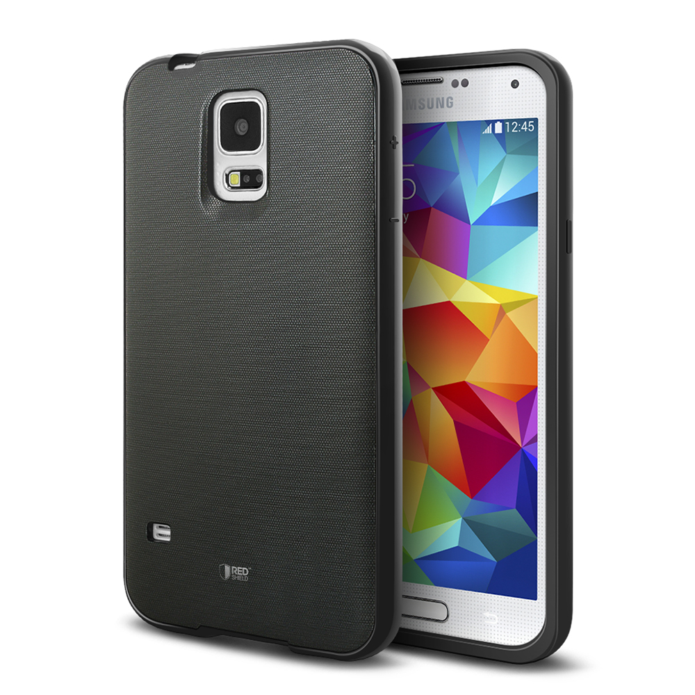 REDShield® Samsung Galaxy S5 Case | [Impact Resistant] Silicone TPU with Satin Back [Anti-Slip] [Black]