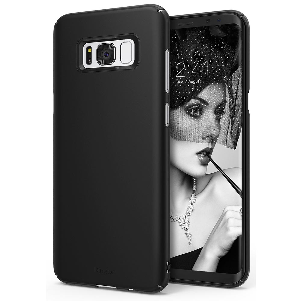 Samsung Galaxy S8 Slim Case, Ringke [SLIM Series] Dazzling Slender [Laser Precision Cutouts] Fashionable & Classy PC Hard Skin cover - SF Black