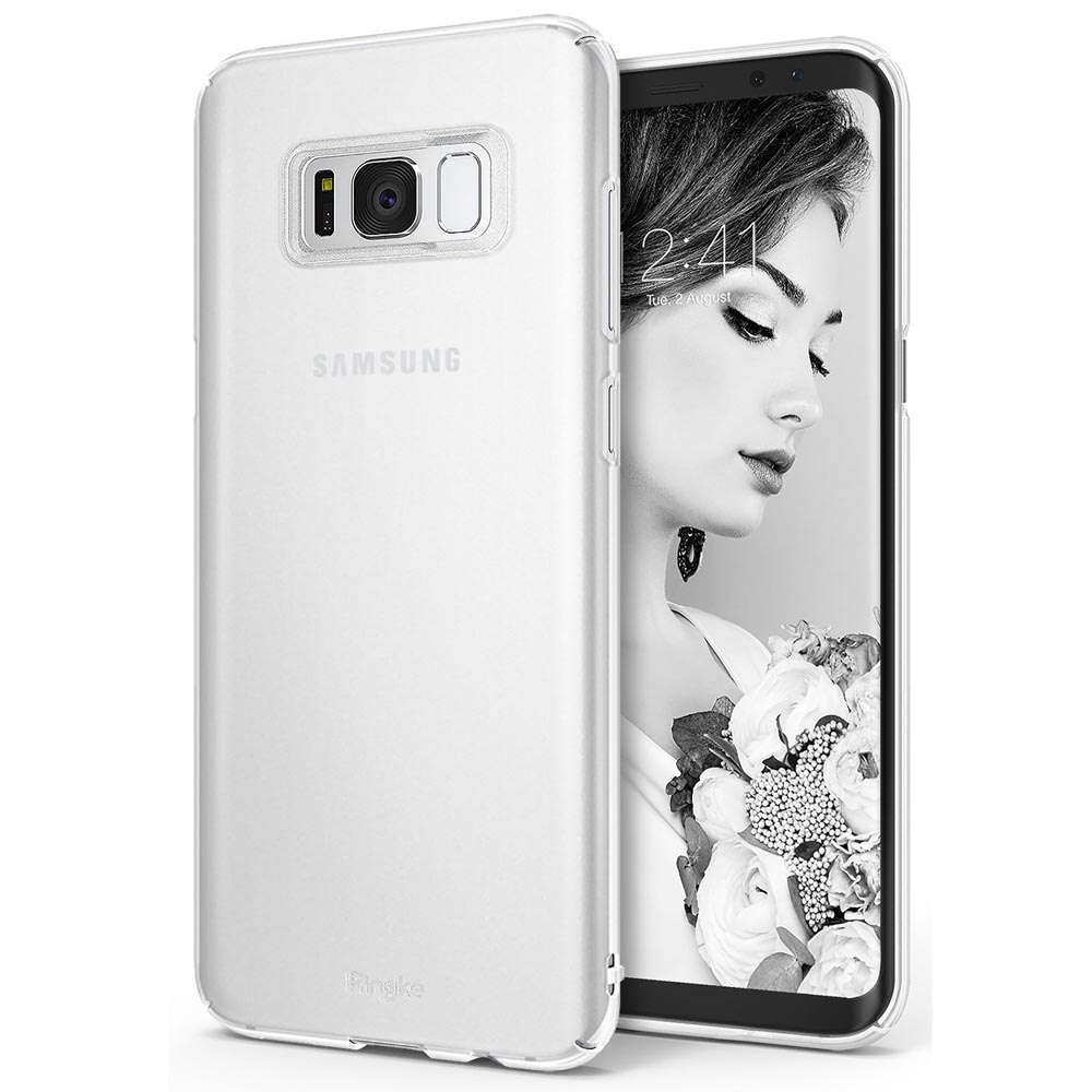 Samsung Galaxy S8 Slim Case, Ringke [SLIM Series] Dazzling Slender [Laser Precision Cutouts] Fashionable & Classy Superior Steadfast Bolstered PC Hard Skin cover - Frost White
