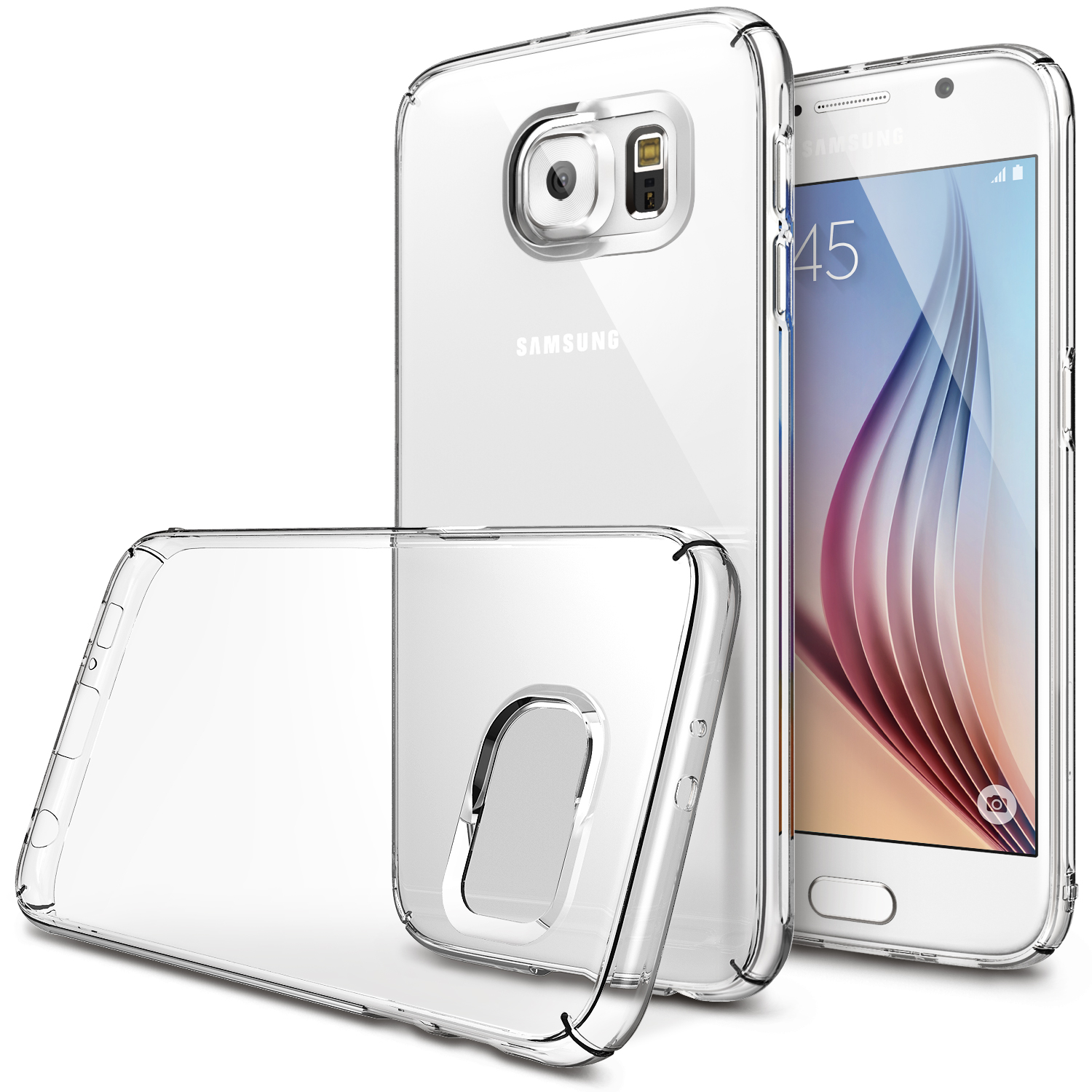 Samsung Galaxy S6 Case, Ringke [Clear] SLIM Series Featuring Slim Dual Coated Matte Hard Protective Polycarbonate w/ Free Screen Protector