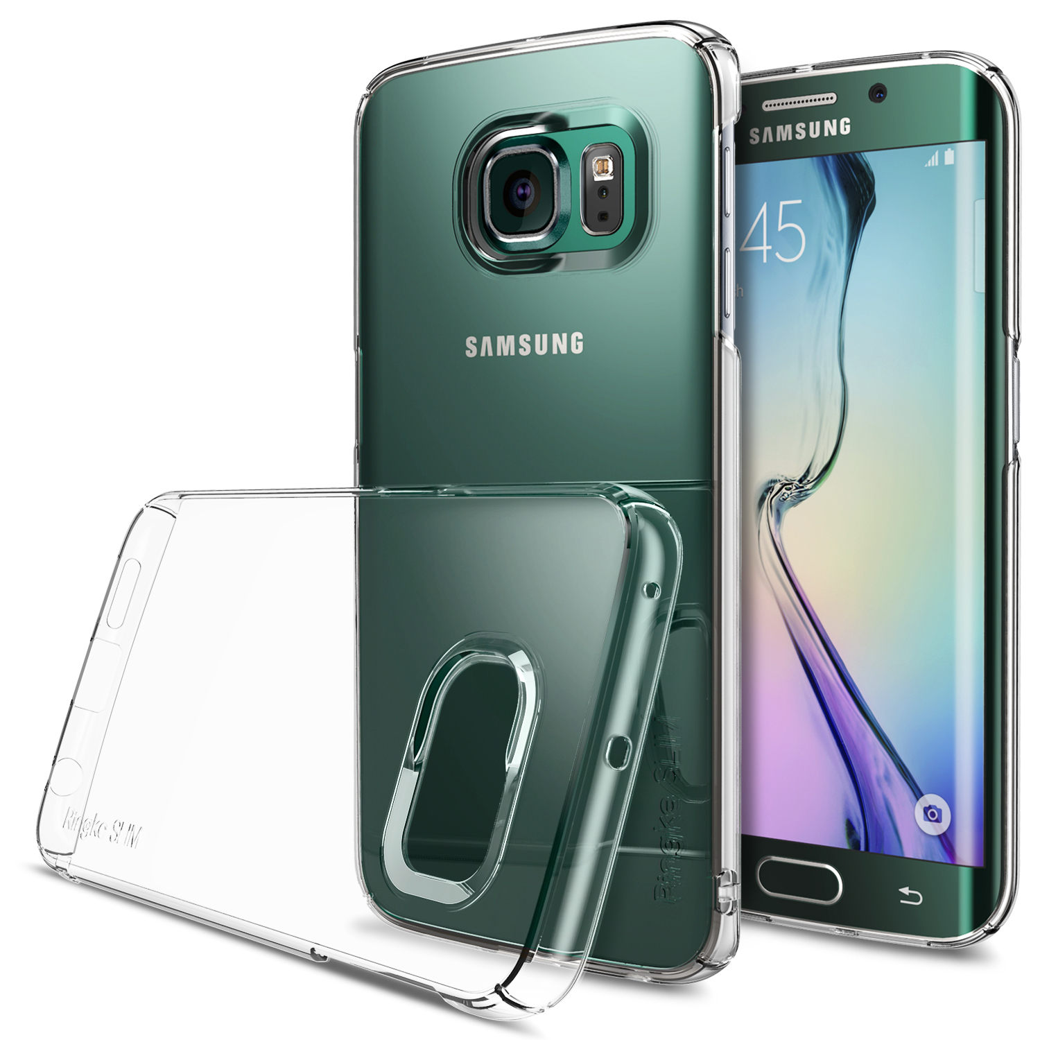 Samsung Galaxy S6 Edge Case, Ringke [Clear] SLIM Series Slim & Protective Crystal Glossy Snap-on Hard Polycarbonate Plastic Case Cover w/ Free Screen Protector