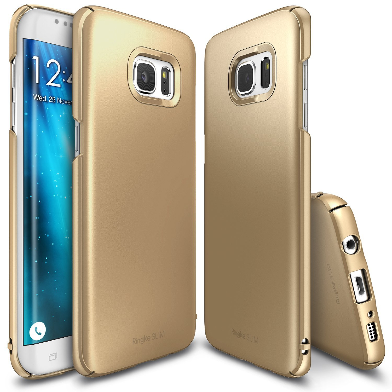 Samsung Galaxy S7 Edge Case,Ringke [SLIM] [Royal Gold]  Snug-Fit Ultra-Thin All Coverage Hard Case