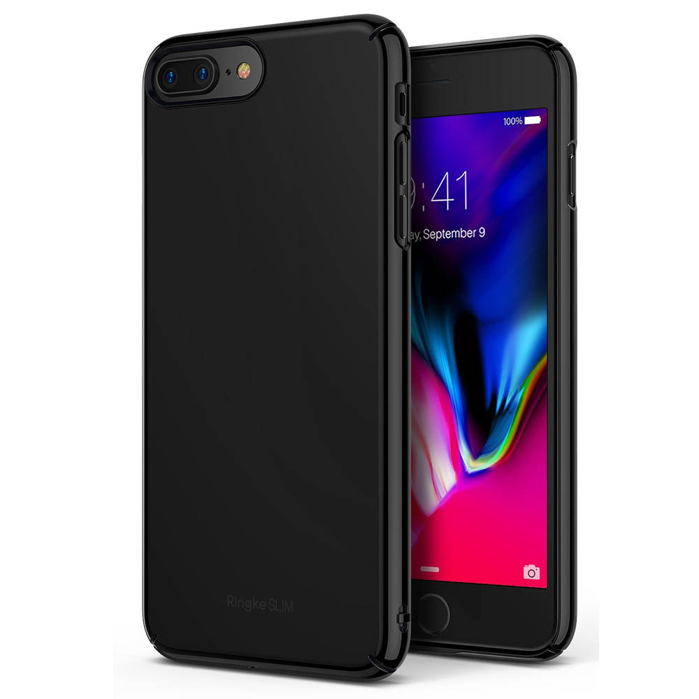 [Ringke] Apple iPhone 8 Plus / 7 Plus Case, [SLIM] Lightweight Thin PC Hard Shell Snug-Fit Protection Cover[Glossy Black]
