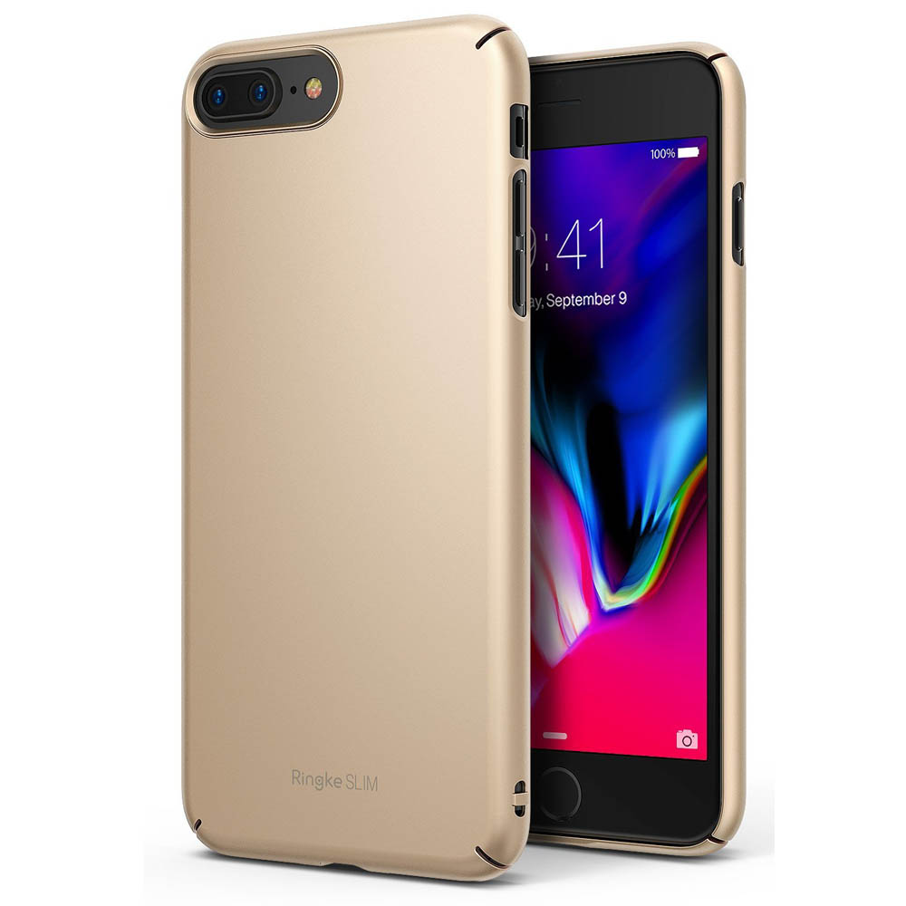 [Ringke] Apple iPhone 8 Plus / 7 Plus Case, [SLIM] Lightweight Thin PC Hard Shell Snug-Fit Protection Cover [Royal Gold]