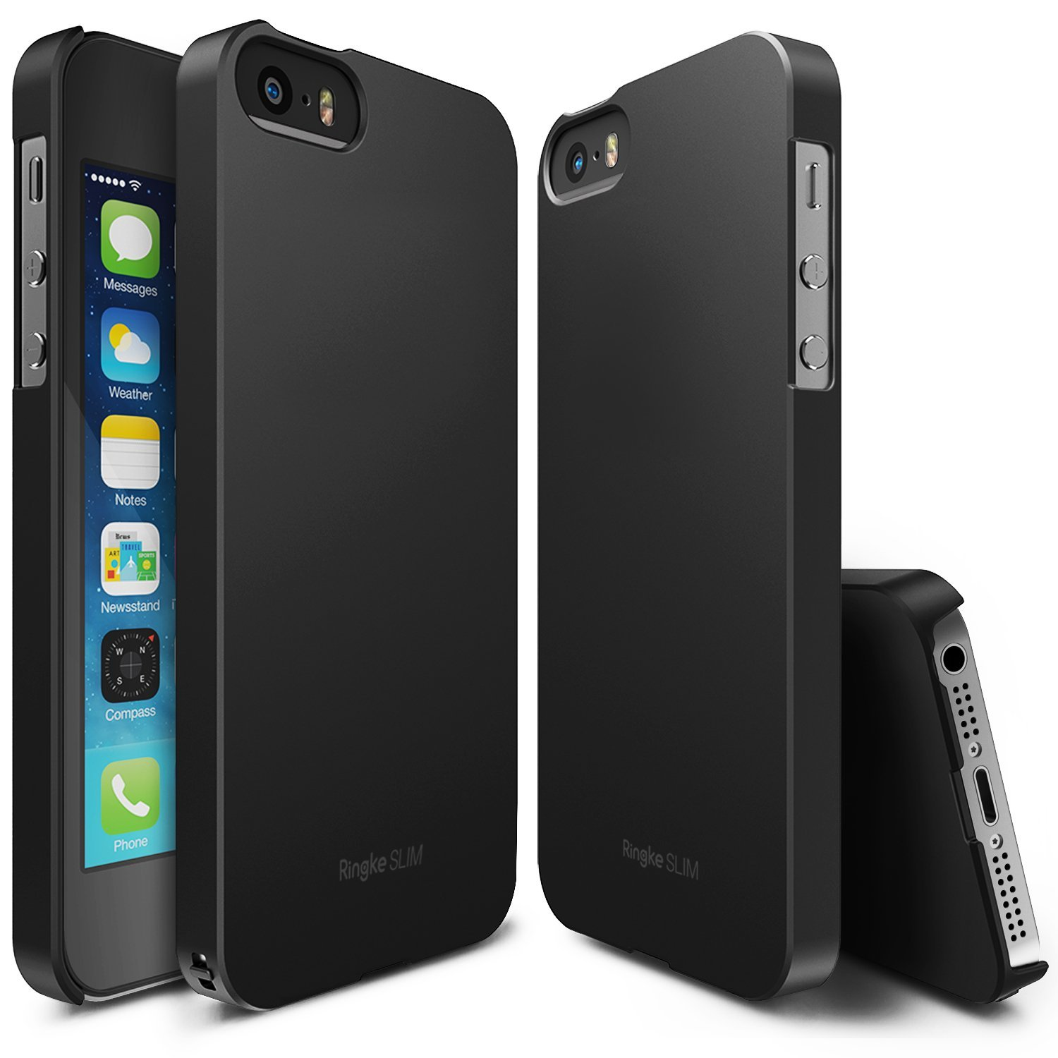 Apple iPhone SE / 5 / 5S  Case, Ringke [SF Black] SLIM Series Perfect Fit Scratch-Resistant Protective Hard Case