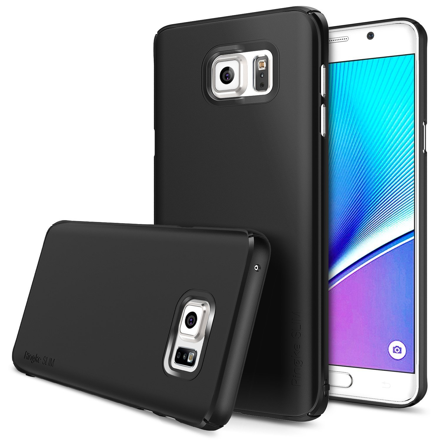 Samsung Galaxy Note 5, Ringke [Black] SLIM Series Full Top/ Bottom Coverage Dual Coated Hard Case