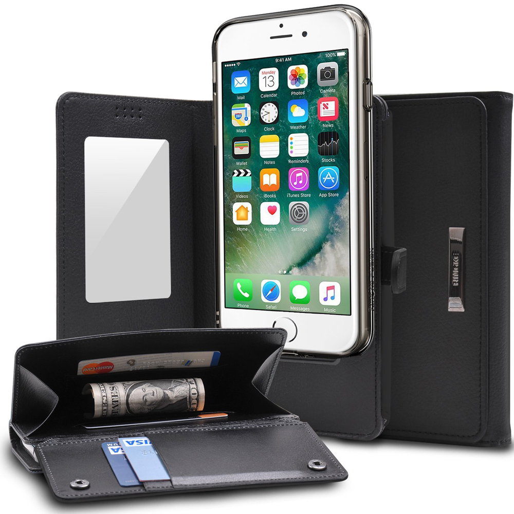 [Ringke] Apple iPhone 8 / 7 Case, [Wallet] Full Purse, Camera Slide, Card Slot, Flip Mirror, Premium PU Leather Protective Case [Black]