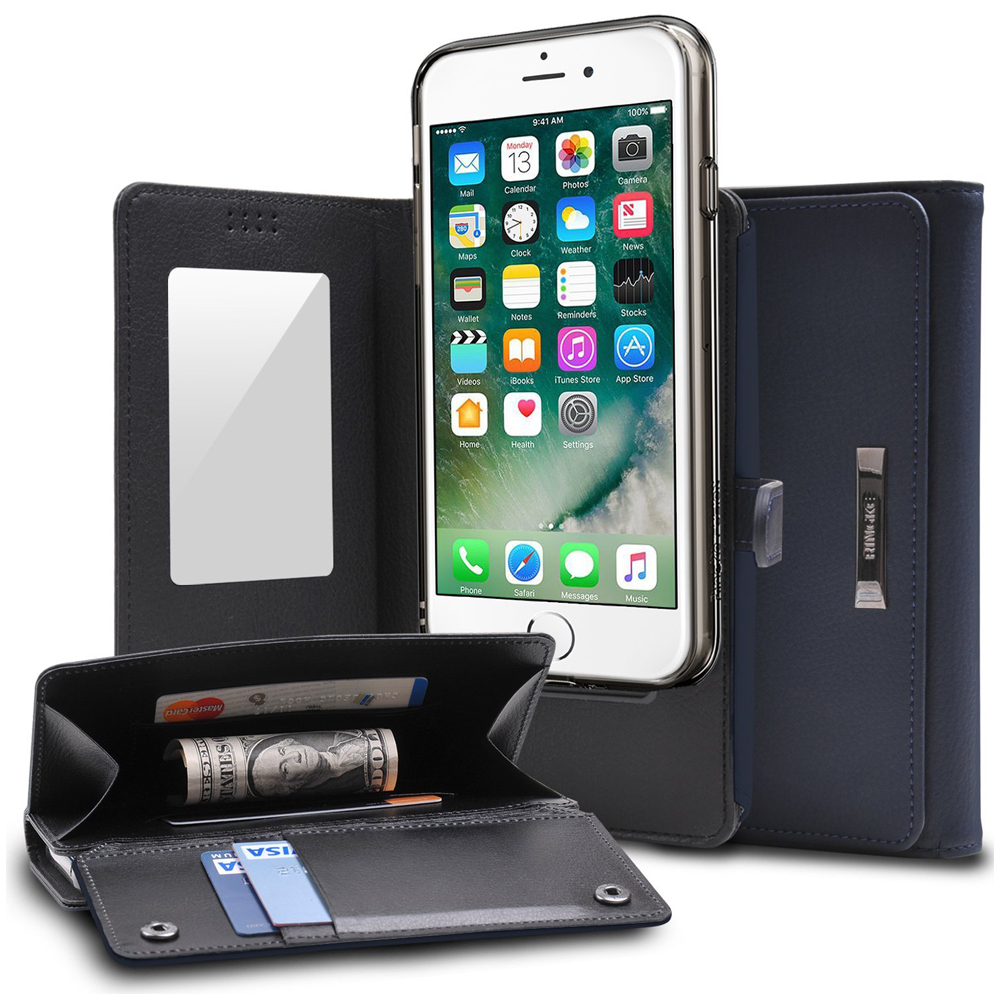 [Ringke] Apple iPhone 8 Plus / 7 Plus Case, [Wallet] Full Purse, Camera Slide, Card Slot, Flip Mirror, Premium PU Leather Protective Case [Navy]