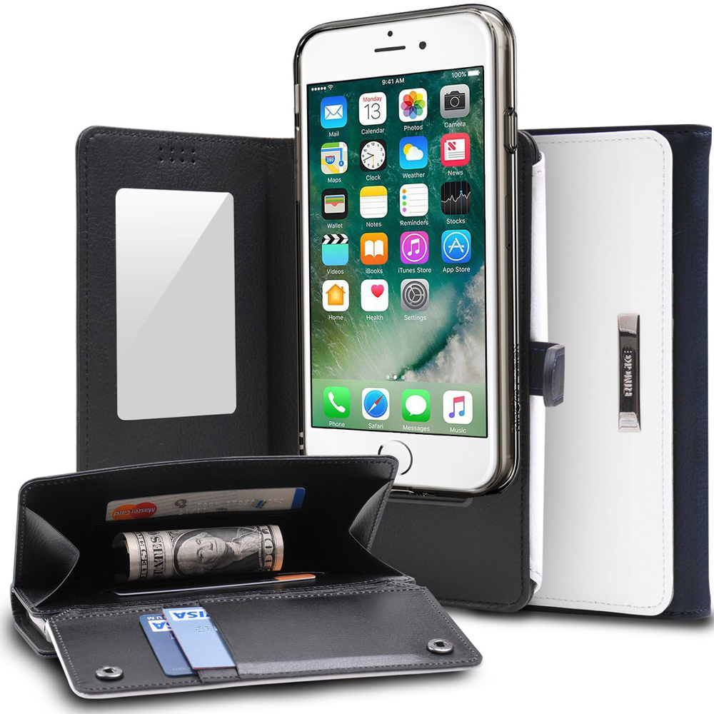 [Ringke] Apple iPhone 8 Plus / 7 Plus Case, [Wallet] Full Purse, Camera Slide, Card Slot, Flip Mirror, Premium PU Leather Protective Case [White & Navy]