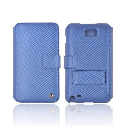 Original Zenus Samsung Galaxy Note Prestige Carbon Diary Series Leather Case w/ ID Slots & Stand, SAGXN-PC5DY-NV - Navy Blue