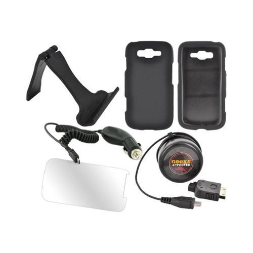 Samsung Focus 2 Essential Bundle Package w/ Black Rubberized Hard Case, Screen Protector, Portable Stand, Car & Travel Charger