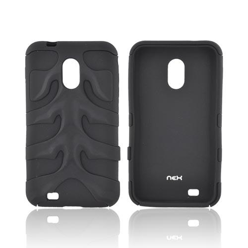 Original Nex Samsung Epic 4G Touch Rubberized Hard Fishbone on Silicone Case w/ Screen Protector, SAMD710FB02 - Black