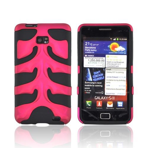 Original Nex AT&T Samsung Galaxy S2 Rubberized Hard Fishbone on Silicone Case w/ Screen Protector, SAMI777FB05 - Rose Pink/ Black