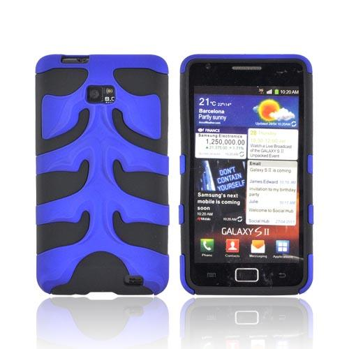 Original Nex AT&T Samsung Galaxy S2 Rubberized Hard Fishbone on Silicone Case w/ Screen Protector, SAMI777FB06 - Blue/ Black