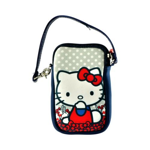 Hello Kitty Milk Bottles Camera & Phone Neoprene Pouch w/ Wrist Strap