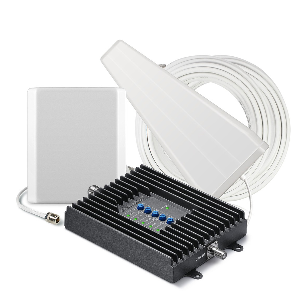 SureCall [Fusion4Home] Voice, Text & 4G LTE Cell Phone Signal Booster Yagi / Panel Kit [Homes up to 4,000 sq ft]