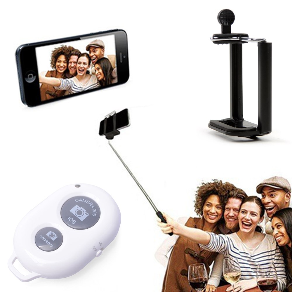 [Selfie Combo] Extendable Selfie Stick Self-portrait Monopod Stick For Phone W/ Rotating Attachment Head & Bluetooth Wireless Shutter Remote Included