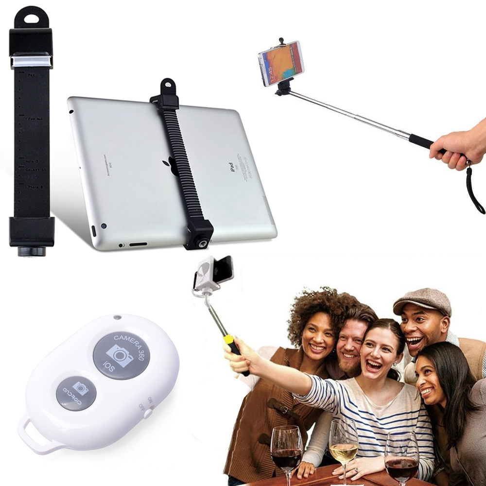 [essential Selfie Combo] Extendable Selfie Stick Self-portrait Monopod Stick For Tablet W/ Attachment Head & Bluetooth Shutter Remote Included