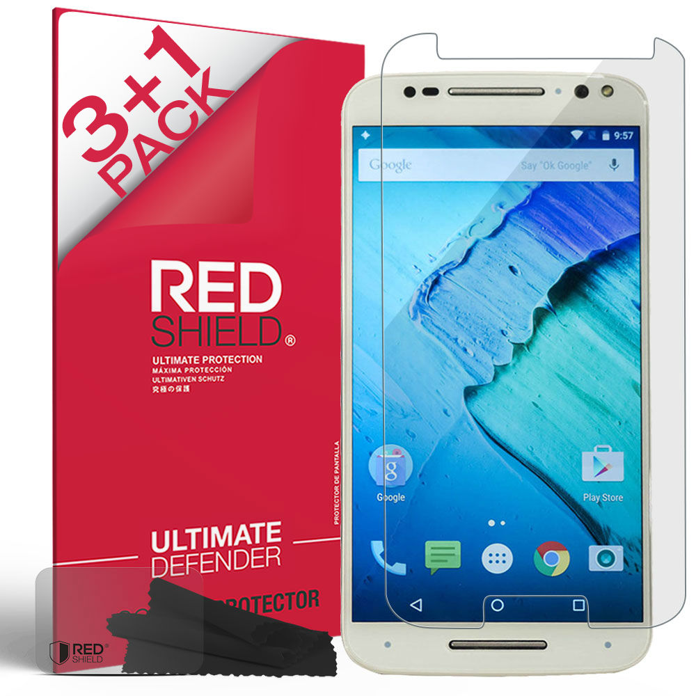 [3+1 Pack] Motorola Moto X Pure Edition Screen Protector, REDshield [Clear] HD Ultra Thin Scratch Resistant, Bubble Free, Protective Screen Guard Film for Motorola Moto X Pure Edition