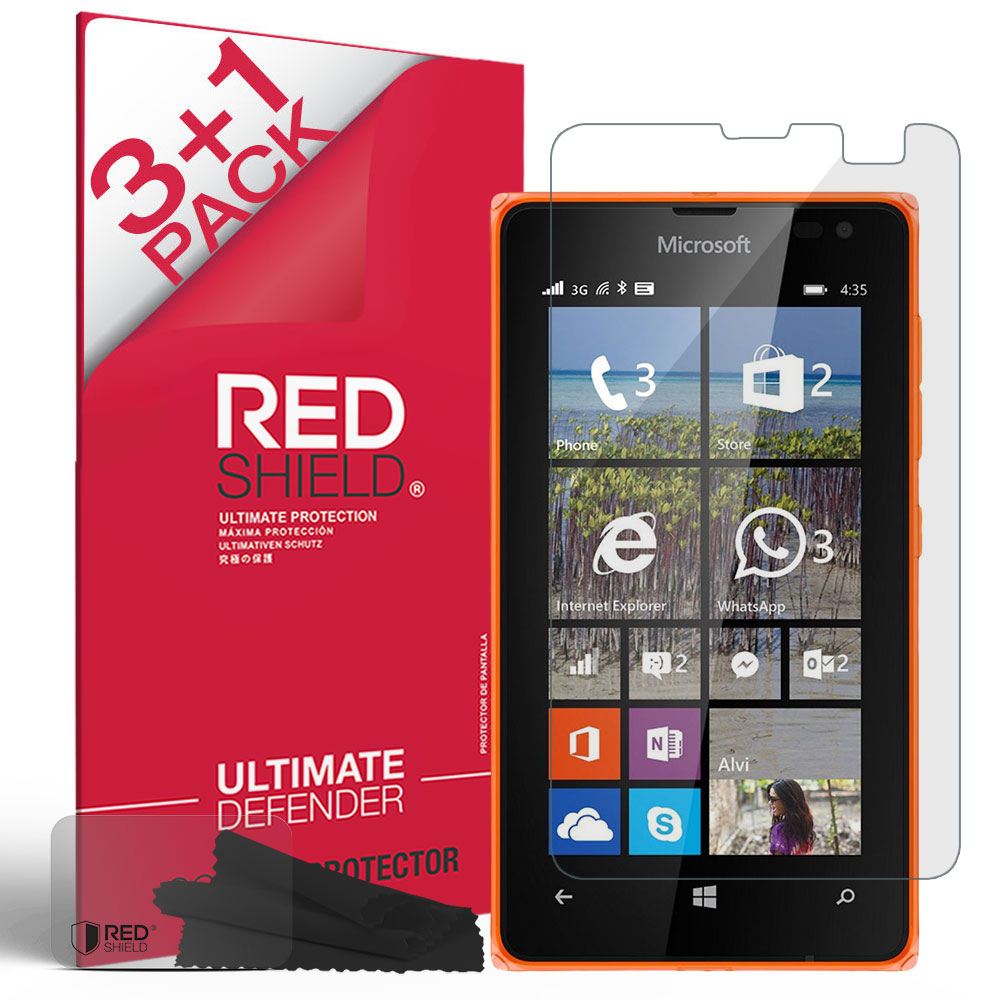 [3+1 Pack] Microsoft Lumia 435 Screen Protector, REDshield [Clear] HD Ultra Thin Scratch Resistant, Bubble Free, Protective Screen Guard Film for Nokia Lumia 435