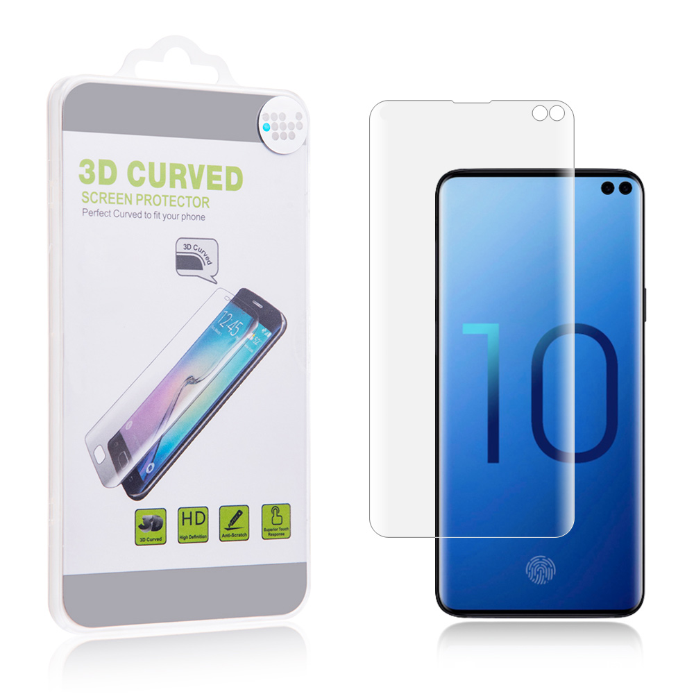 Redshield Compatible with Samsung Galaxy S10 Plus Screen Protector, [Clear] Full Coverage 3D Curved Glass Scratch-Resistant Screen Protector